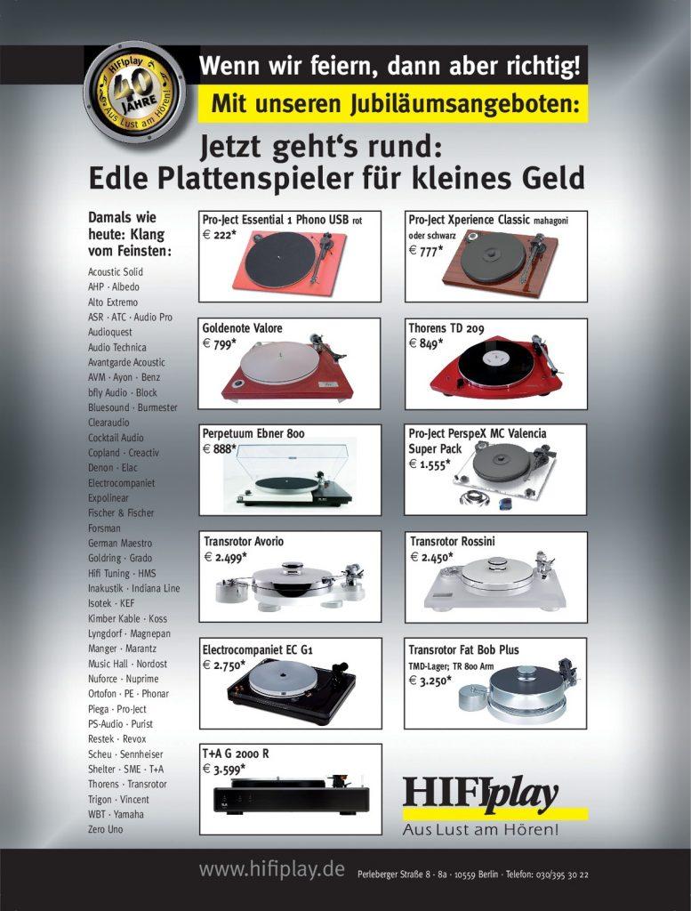 HIFIplay - Ihr HiFi- und High End-Spezialist in Berlin: 40 Jahre - Plattenspieler
