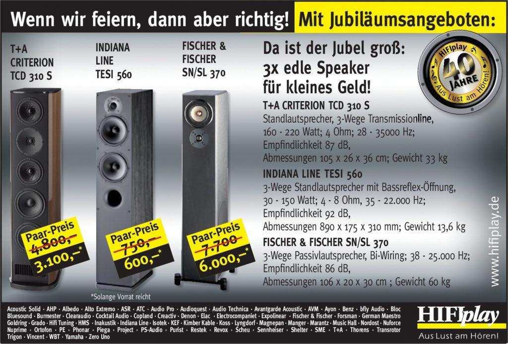 HIFIplay - Ihr HiFi- und High End-Spezialist in Berlin: 40 Jahre - Lautsprecher-Angebote
