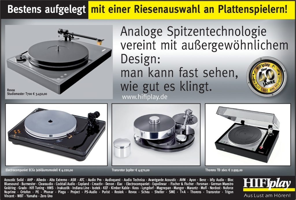 HIFIplay - Ihr HiFi- und High End-Spezialist in Berlin: Plattenspieler-Auswahl Revox - Transrotor - Thorens 1601