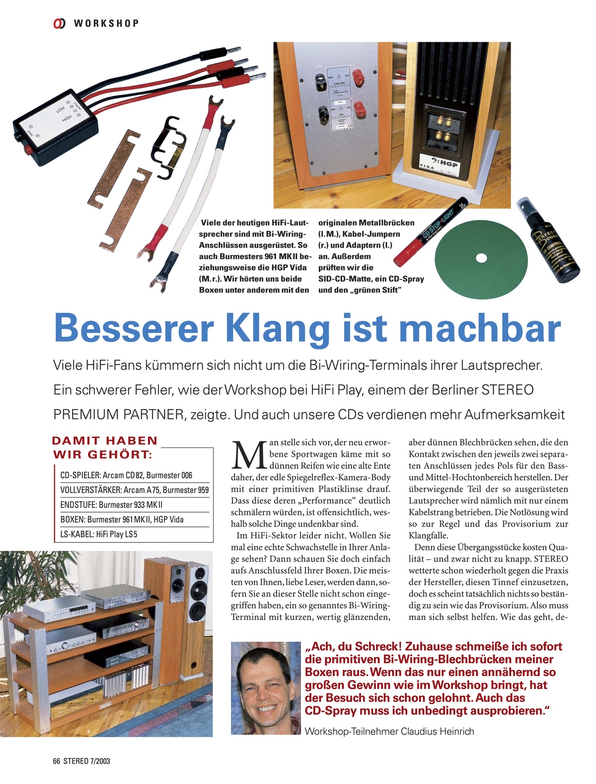 STEREO 07/2003 - Workshop beim HIFIplay - Seite 1 (© STEREO)