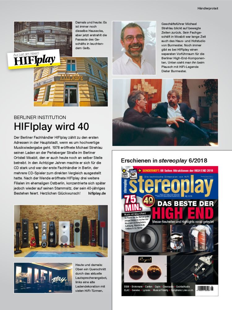 stereoplay 06/2018 - HIFIplay wird 40 (©stereoplay)
